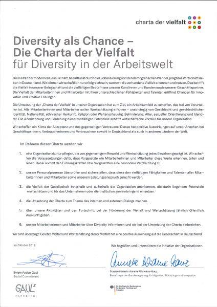 Charta der Vielfalt URKUNDE Unterzeichnet